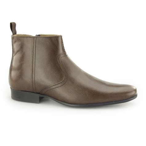 belmont mens leather zip up casual ankle boots