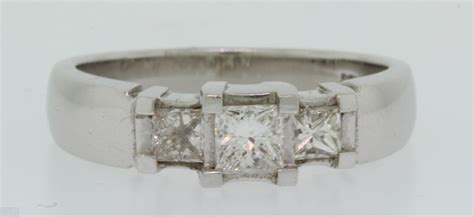 14 k white gold past present future princess cut 1 32 ct ring