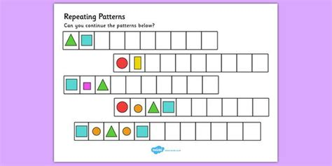 shape repeating pattern repeating pattern worksheets shapes and colours