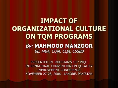 Culture Mba Programs by Impact Of Organizational Culture On Tqm Programs