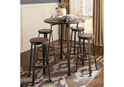 Dining Table Bar Stools by Harlem Furniture Challiman Rustic Brown Dining Room