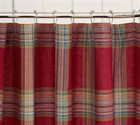 curtains plaid blake plaid shower curtain pottery barn