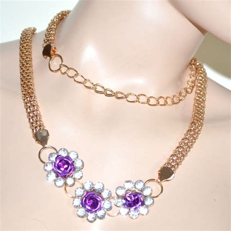 gioielli con fiori cintura gioiello donna oro metallo dorata fiori strass