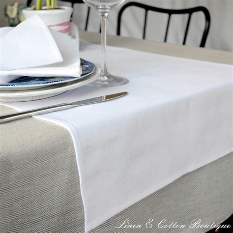 and white table runner white linen table runner linen cotton