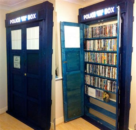 cool custom tardis dvd bookcase neatorama