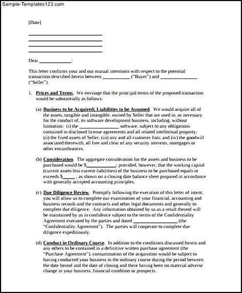 Letter Of Intent In Business Sle Letter Of Intent To Purchase Business Printable Sle Templates