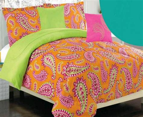 lime green comforter twin twin girls teen orange pink lime green bohemian paisley