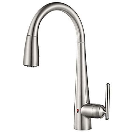 touch free faucets kitchen stainless steel lita touch free pull kitchen faucet with react gt529 els pfister faucets