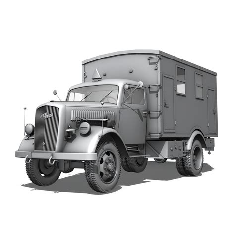opel blitz opel blitz 3t truck with kofferaufbau 3d model buy