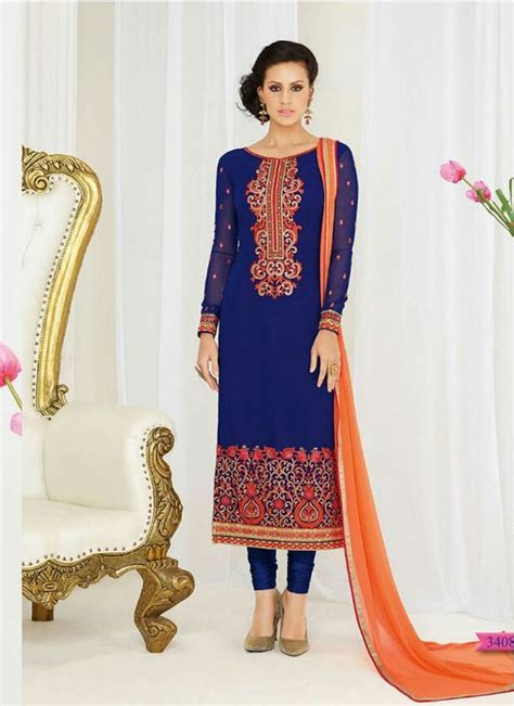 Shalwar Kamaaz Baju India sightly blue and orange faux georgette decent indian