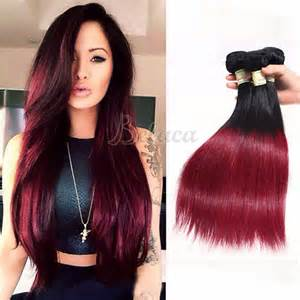 colored weave hair 3 bundles two tone colors 1b burgundy hair dyed weave