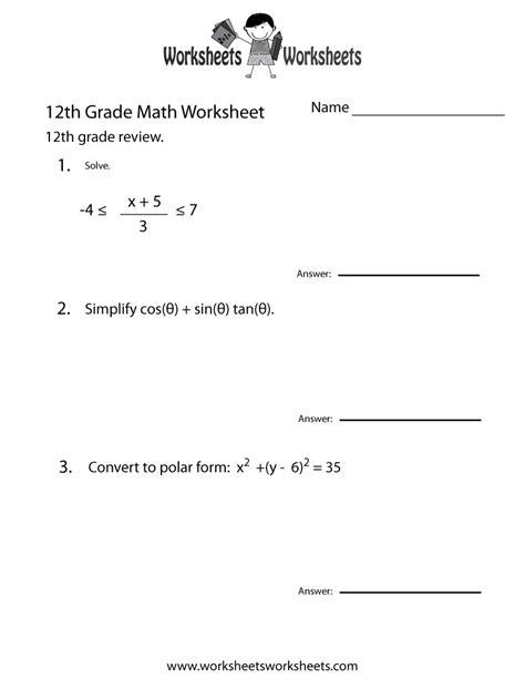 12th Grade Math Worksheets by 12th Grade Math Review Worksheet Free Printable