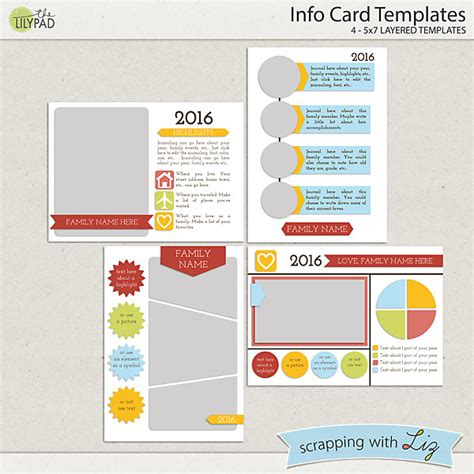 Digital Scrapbooking Card Templates by Digital Scrapbook Templates Info Card Scrapping With Liz