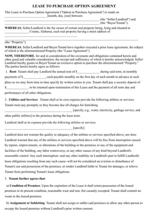 lease with option to buy agreement template lease purchase agreement for free formtemplate