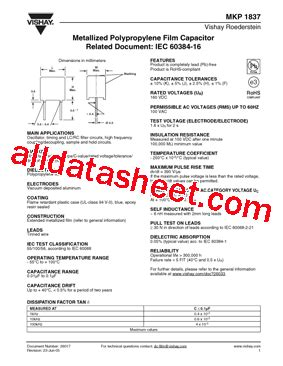 mkp capacitor datasheet mkp1837 データシート pdf vishay siliconix