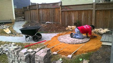 Time Lapse Circular Patio Paver Installation Part 1 How To Use Pavers To Make A Patio