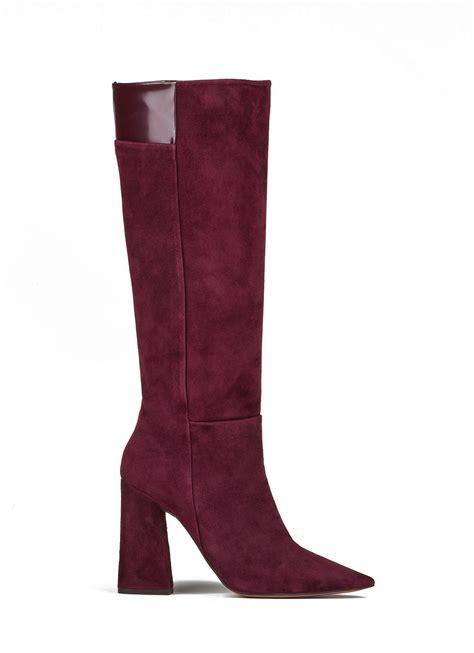 high heel boots in burgundy suede shoe store pura
