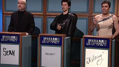 snl celebrity jeopardy jimmy fallon as adam sandler watch celebrity jeopardy hillary swank keanu reeves