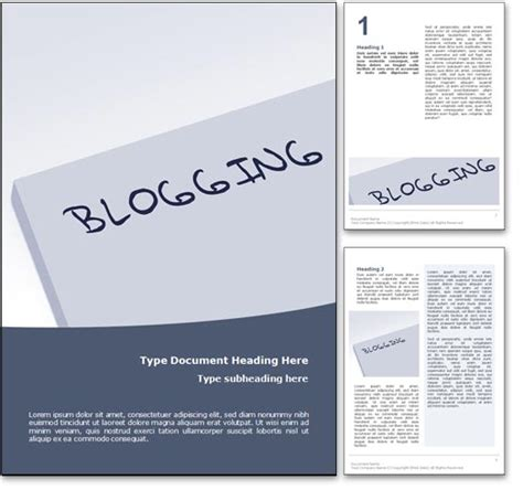 Blogging Template by Royalty Free Blogging Microsoft Word Template In Blue