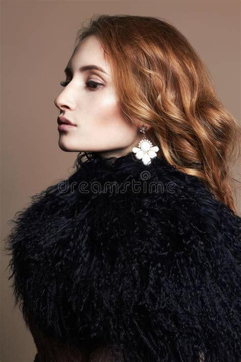 beautiful sexy woman fur coat stock images