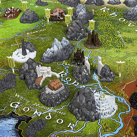 the map of the earth lord of the rings map of middle earth 3d puzzle thinkgeek
