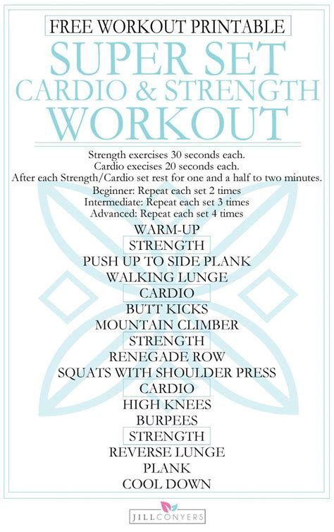 printable iron strength workout the benefits of strength training and cardio in one heart