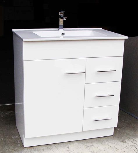 Bathroom Basin And Vanity Unit Artemis Wp750r 750mm Polyurethane Bathroom Vanity Unit With Ceramic Basin And Right Drawers