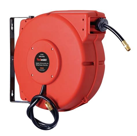 reelworks plastic retractable air hose reel 3 8 quot x 50 hybird polymer hose ebay