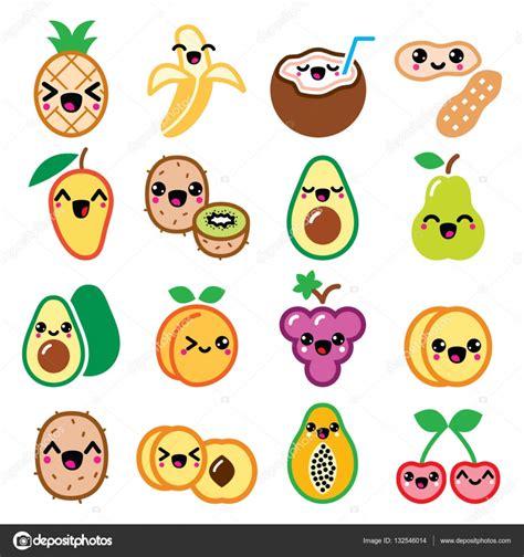 imagenes de frutas kawaii conjunto de iconos de kawaii frutas y frutos lindos