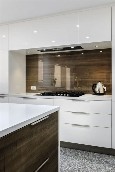 splashback ideas for kitchens splashback clear glass over timber veneer cleaf dark