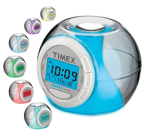 low price timex t035ww4 color changing alarm clock with soothing sounds white mastering the