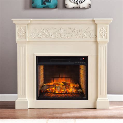 Infrared Electric Fireplace 44 5 Quot Calvert Carved Infrared Electric Fireplace Ivory Fi9279