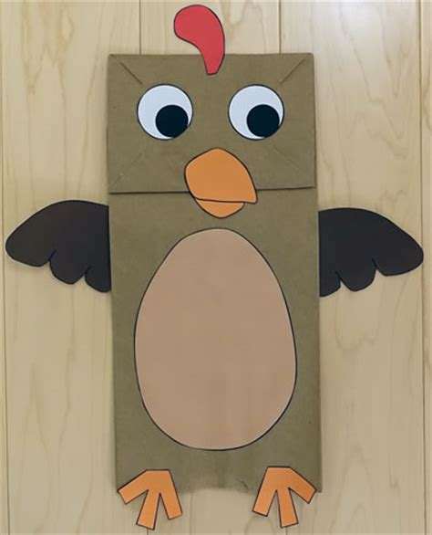 How To Make A Paper Bag Puppet Animal - paper bag turkey puppet