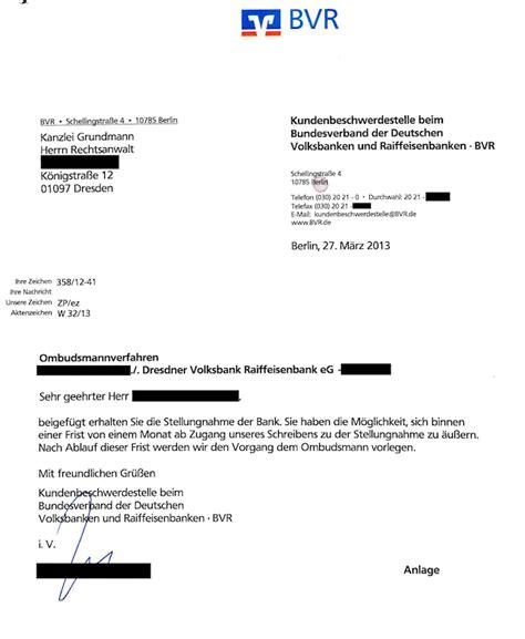 volksbank die bank beschwerde gegen banken ombudsmann 2 teil