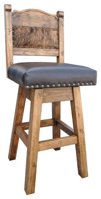 Cowhide Counter Stools - hacienda swivel bar stool with cowhide southwestern