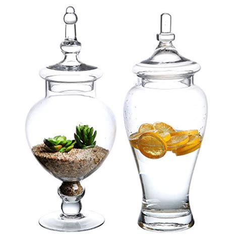 clear glass containers for centerpieces set of 2 large decorative clear glass apothecary jars