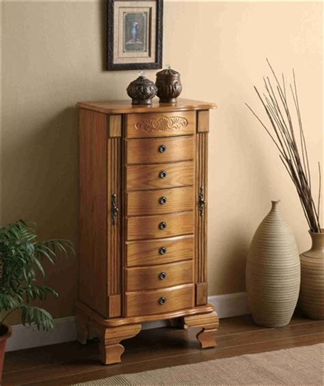 standing jewelry armoires standing wooden jewelry armoire five drawers contemporary