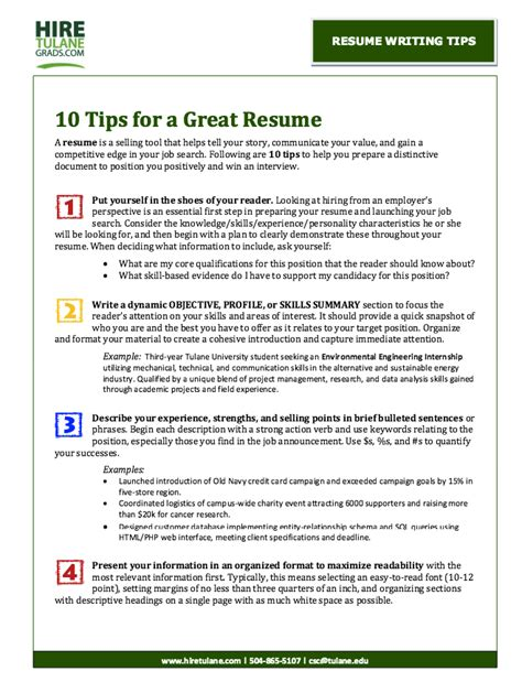 tips for creating a resume resume