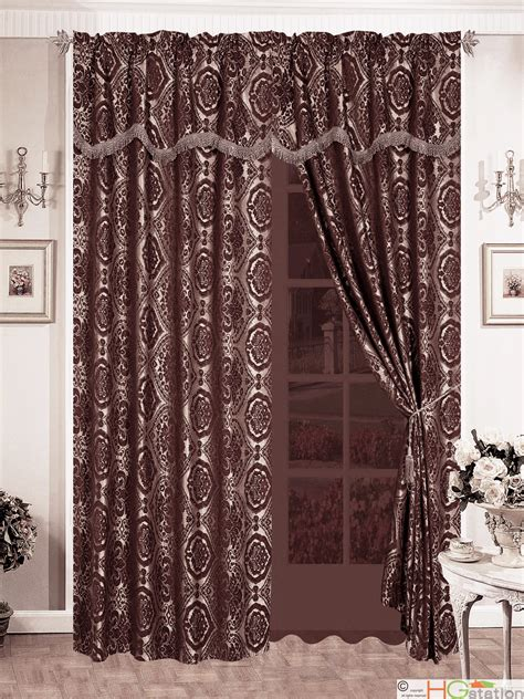 taupe damask curtains 4pc quality chenille floral damask flocking curtain set