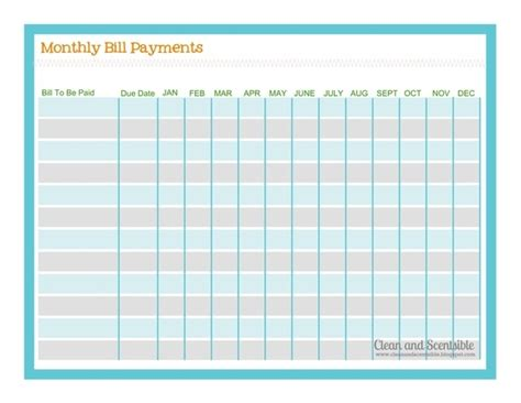 template monthly payment plan template