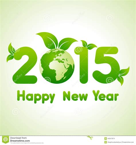 new year green happy new year 2015 background with save the world concept