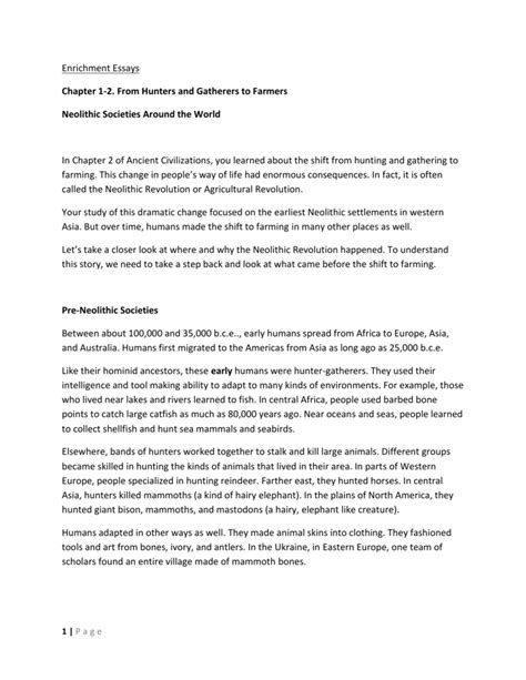 Neolithic agricultural revolution essay