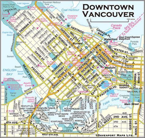 printable map vancouver british columbia maps downtown vancouver map vancouver
