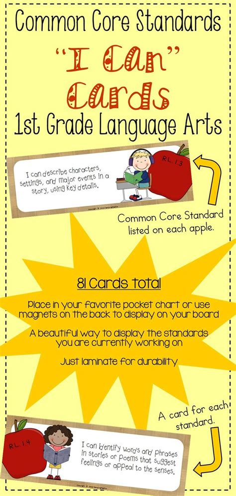 themes in english language arts common core quot i can quot cards 1st grade language arts apple