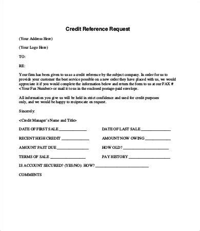 Credit Reference Form Letter Credit Reference Letter 9 Free Word Pdf Documents