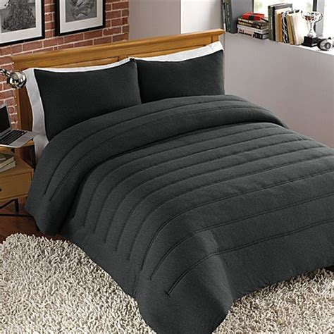 jersey bedding jersey channel stitch comforter set in charcoal bed bath