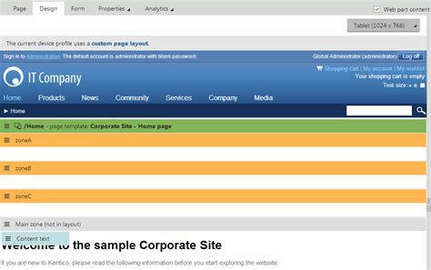 kentico layout web part creating mobile pages kentico 8 documentation