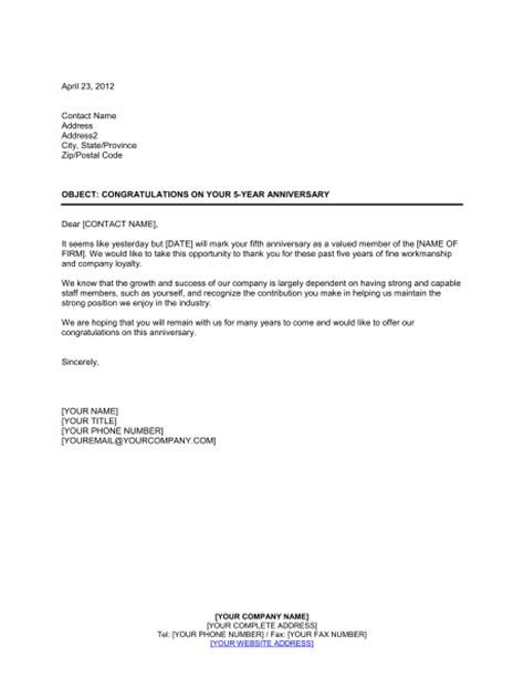 Promotion Request Letter For Subordinate Congratulations To An Employee On 5 Year Anniversary Template Sle Form Biztree