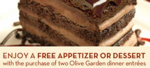 olive garden coupon free appetizer or dessert with