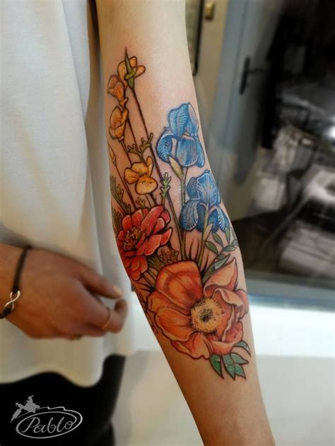 yes i m finally inked perfect colored flower tattoo